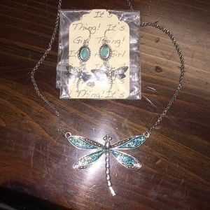 Dragon fly necklace and earrings